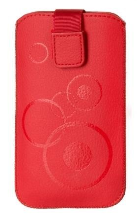 Handytasche Circle passend für Huawei Ascend Y550 Handy Tasche Schutz Hülle Slim Hülle Cover Etui rot mit Klettverschluss