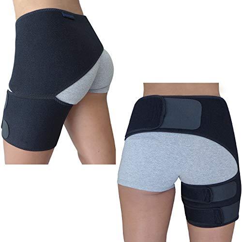 Hip Brace - Sciatica Pain Relief Brace - Hamstring Thigh Compression Sleeve - Groin Support Wrap for Men Women - Hip Flexor Pull SI Joint Labral Tear Arthritis Bursitis Sciatic Nerve Spica Strain Stabilizer (Black)