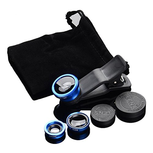 JAYLINNA 3 in 1 Phone Camera Lens Kits,180x Fisheye+0.67x Wide Angle+10x Micro Lens for iPhone X,7,8,6,6s,6 Plus,Samsung Sony and More Smartphones(Blue)