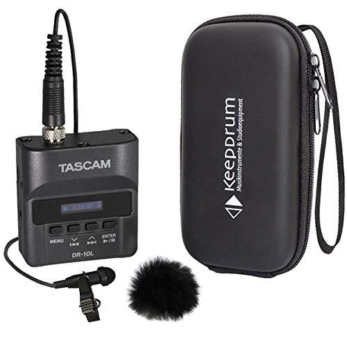 Tascam DR-10L Recorder mit Lavalier-Mikrofon + keepdrum Windschutz + Tasche
