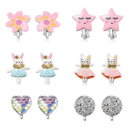 PinkSheep Pendientes para Niños, Pendientes de Bebé, 12 Pares, Pendientes de Clip para Niñas