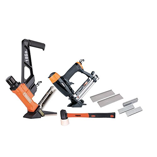 Freeman P2PFK14 Professional Pneumatic Flooring Nailer Kit with Fasteners (2-Piece) L-Cleat Flooring Nailer, 4-in-1 Mini Flooring Nailer and Stapler, and Rubber No-Mar Mallet