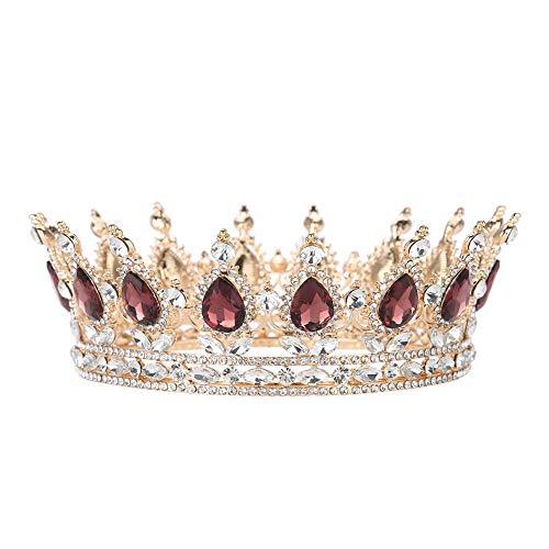 Jadpes Coroa de pedra preciosa de ouro rosa, acessório de cabelo de casamento com strass, coroa redonda feita à mão para noivas e formaturas
