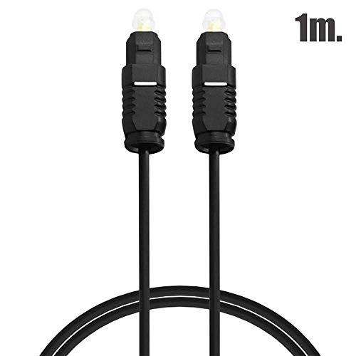 OcioDual Cable Toslink Audio Digital Fibra Optica 1m de Macho para DVD PS4 Xbox 360 Negro