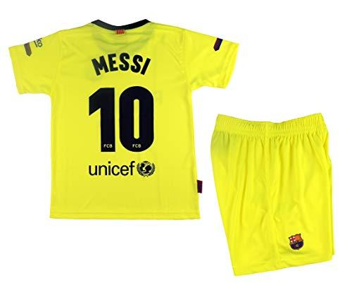 Kit Segunda Equipación Infantil Leo Messi del FC Barcelona Producto Oficial Licenciado Temporada 2018-19 - Talla 12, Amarillo Fluor