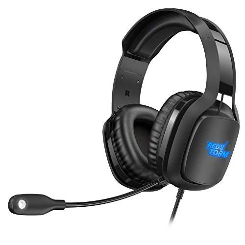 REDSTORM Auriculares Gaming PS3, Cascos Gaming con Micrófono Volteable, 7.1 Sonido Virtual Surround, RGB Luz, Peso Ligero, Gaming Headset con Cable, USB para PC, Mac, Xbox One, Switch