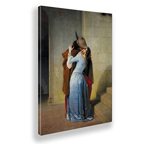 Giallobus - Pinturas - Francesco Hayez - El Beso - Lienzo - 50x70 - Listo para Colgar - Cuadros Modernos para el hogar