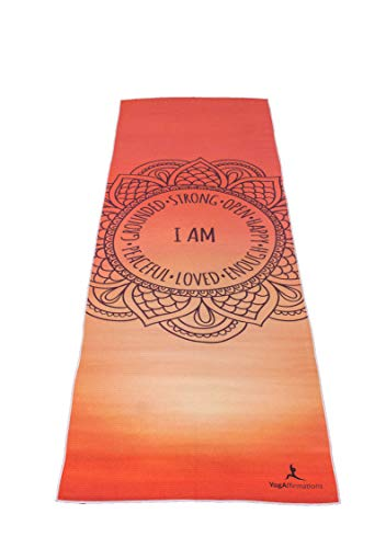 """Premium Quality Yoga Mat Towel by YogAffirmations – Non Slip, Silicone Dots, Ultra Soft Microfiber, Wicking Sweat Absorbent – Great for Pilates, Meditation, Hot Yoga – 24"""" x 72"""" Orange Yoga Towel"""