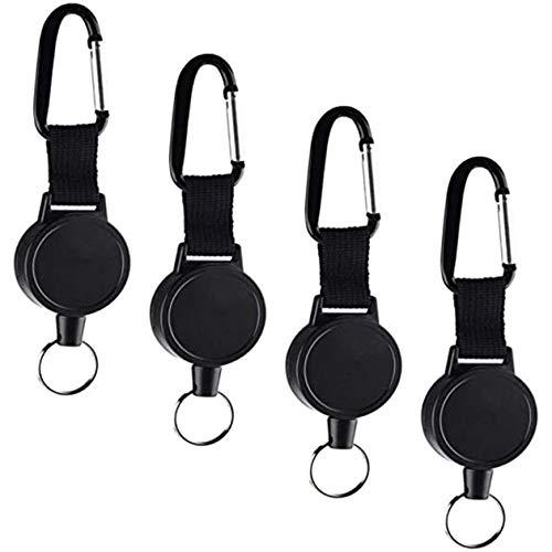 4pcs llavero de correas elásticas de alta elasticidad antipérdida antirrobo duradero retráctil ABS llavero extensión cordón-negro