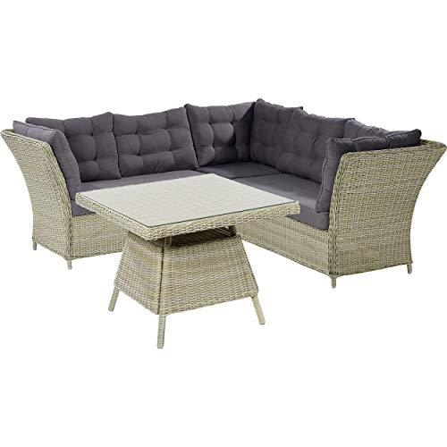 Lounge-Set mit Esstisch Madison 4-teilig | Handgeflochtene Gartenmöbel aus Polyrattan