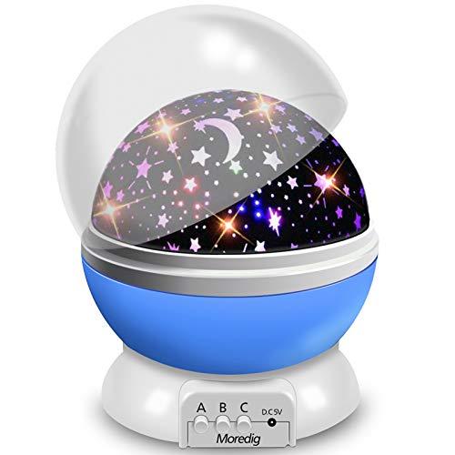 Veilleuse Enfant, Lampe Projecteur Rotation à 360° Romantique,Veilleuse Bébé Étoiles, Lampes de Chevet Lampes d'ambiance(4 LED 8 Modes d'éclairage 2 Modes de Charge)-Bleu