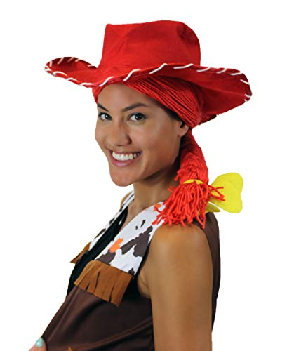 Cowgirl Yarn-Braided Wig with Hat Red Cosplay TV/Movie Wigs HW-3836