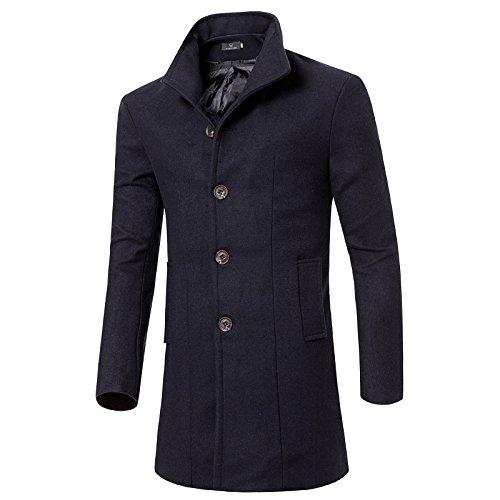 HUAZONG - Abrigo de invierno para hombre, color negro, abrigo de lana para hombre, de manga larga, informal, de manga larga, cálido, ajuste entallado, cuello con muescas
