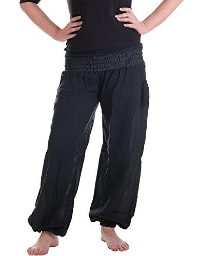 Vishes - Alternative Bekleidung - Sommer Chino Haremshose aus Baumwolle mit super elastischem Bund - handgewebt schwarz Einheitsgröße 32 bis 42