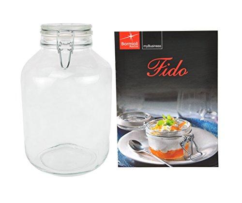 Bormioli Rocco Fido - Bocal en verre à armature métallique - Différentes tailles au choix, Verre, 4,0 Liter