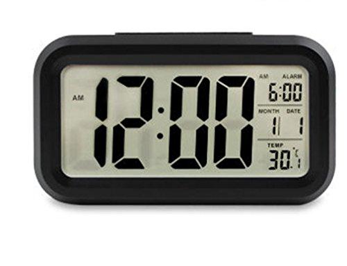 Hanguang wekker voor kinderen, verlichte wekker, led-klok, creatief product, groot digitaal display, intelligent alarmfunctie, snooze met temperatuur en alarmkalender, elektronisch verlicht zwart.