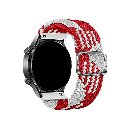 OEUTA Bracelet de montre en nylon tressé élastique extensible réglable à libération rapide pour montre connectée Sport Solo Loop Multicolore 20 mm 22 mm 22mm F