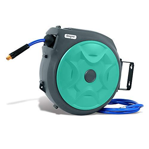HENGMEI 20m Drucklufttrommel mit PVC Druckluftschlauch - Schlauchtrommel Aufroller automatisch mit Schnellkupplung und Arretierkugel für Autoreparaturstationen usw (20 Meter, Grün)