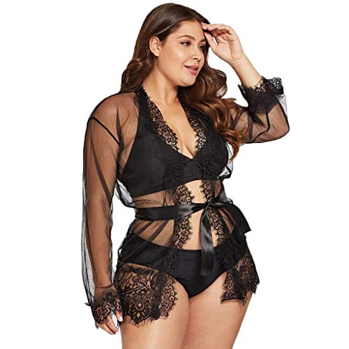 Ausverkauf! Damen Dessous Babydoll Nachtwäsche, Frauen Spitze Sexy Unterwäsche Mantel Nachtwäsche + G-String Kleid Dessous Set Flitterwochen Urlaub von LEEDY