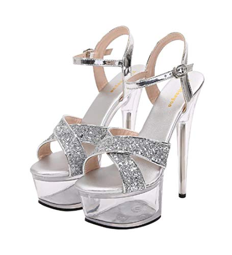 ZY&FC platte gesp Stiletto Sandalen 15 cm Super hoge hak zomer kristallen hak pailletten vrouwen schoenen