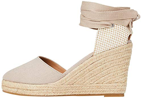 Marchio Amazon - find. Wedge Close Toe Canvas Espadrille Sandalo Espadrillas con Zeppa, Beige (Beige), 40 EU