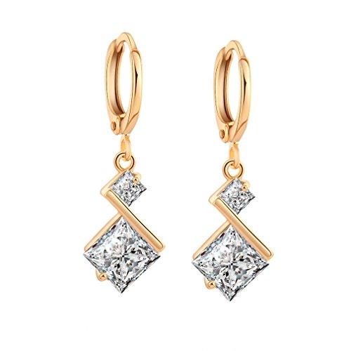 Yazilind 18K Vergoldet Zirkonia Inlay Charming Hoop Baumeln Ohrringe für Frauen Geschenk weißes