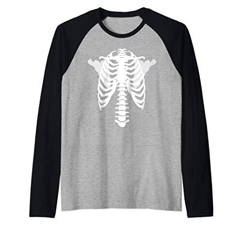 Esqueleto de rayos X aterrador Nuevo disfraz de Halloween Camiseta Manga Raglan