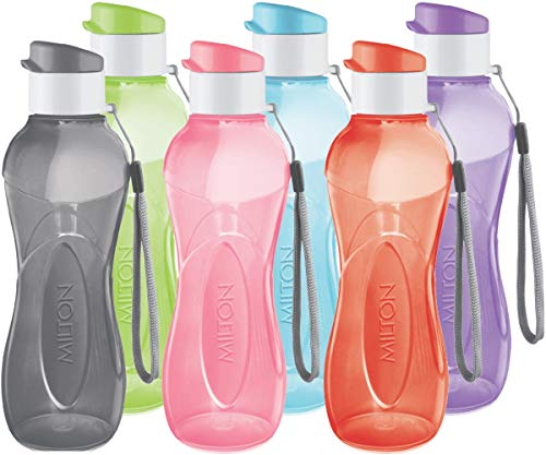 MILTON Water Bottle Kids Reusable Leakproof 12 Oz Plastic Wide Mouth Large Big Drink Bottle BPA & Leak Free with Handle Strap Carrier for Cycling Camping Hiking Gym Yoga - Set of 6