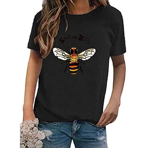 SLYZ 2021 Camiseta De Manga Corta para Mujer Moda Multicolor Cuello Redondo Estampado Camiseta De Manga Corta para Mujer Top