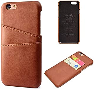 SHUANGRUIYUAN Fashion Premium PU Leather Wallet Anti-Scratch Protective Back Case with Card Slots for iPhone 6/6S 5.5 inch (Color : Brown)