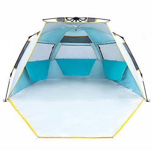 WolfWise Schnellaufbau 3-4 Personen Strandmuschel, UPF 50+ UV Schutz Familien Baby Strandzelt Sonnenschirm, Tragbar Blau