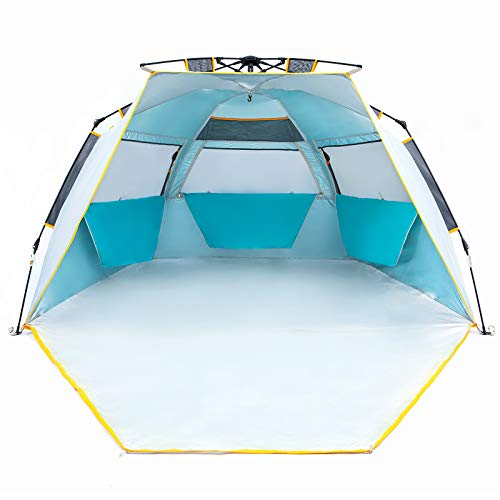 WolfWise 3-4 Person Easy Up Beach Tent UPF 50+ Portable Instant Sun Shelter Canopy Umbrella with Extended Zippered Porch