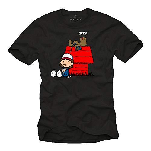 MAKAYA Stranger T-Shirt Uomo - Dart Demogorgon Demodog - Maglietta Dustin Nougat Things Raggazo Bambino Reaglo Nera Taglia XXXL
