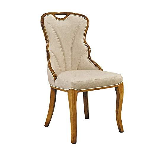 LHQ-HQ Silla de comedor 2 sillas informal for silla de comedor de madera sólida del marco elástico de alta esponja de la espuma cómodo cojín Sillas de cocina (Color: Beige, Tamaño: 51cm x 50cm x 98cm)