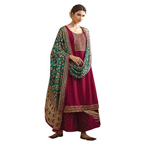 Vino Musulmán Fiesta Formal Mujer Tussar Seda Cosida Butti Salwar kameez Palazzo Chinon impreso Dupatta 4987