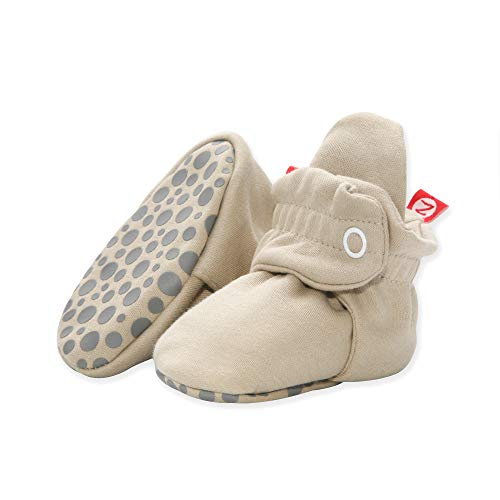 Zutano Organic Cotton Baby Booties with Gripper Soles, Soft Sole Stay-On Baby Shoes, Khaki, 6M