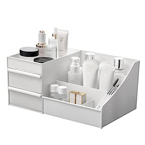 Desktop Cosmetics Aufbewahrungsbox mit Schubladen, BAFFECT® Make-up Organizer Schubladen Abteilung Schreibtisch Veranstalter Make-up Veranstalter für Schlafzimmer Badezimmer Büro (weiß)