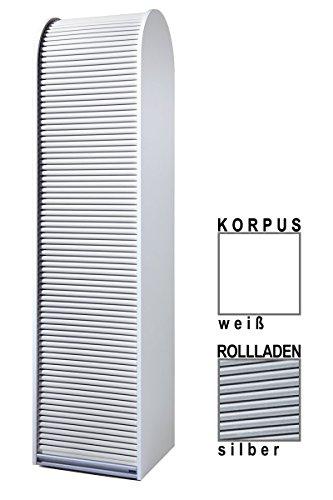 Klenk Dancer Collection - Hochschrank - Korpus: weiß/Rollladen: Silber
