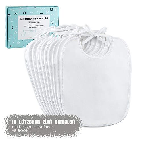 FUTURE FOUNDER Bavoir blanc pour peindre | 10 bavoirs en coton hydrofuge avec eBook idéal pour la création et le coloriage | Cadeau parfait pour fête prénatale.