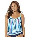 Swimsuits For All Women's Plus Size Lightweight Blouson Tankini Top 16 Pastel Stripe