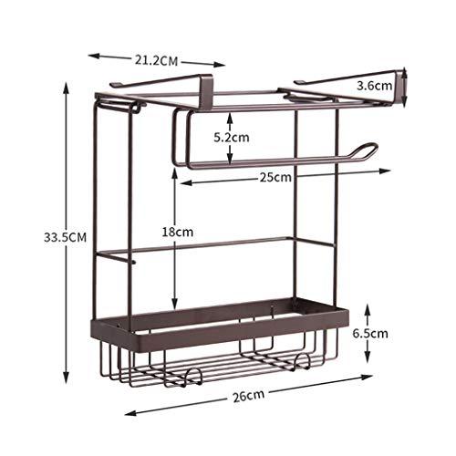 Keukenorganisatie en opslag manden rekken organizer papierhouder doek-hanger spice kruiden rek zwart 26 x 21,2 x 33,5 cm kast haak rek bruin
