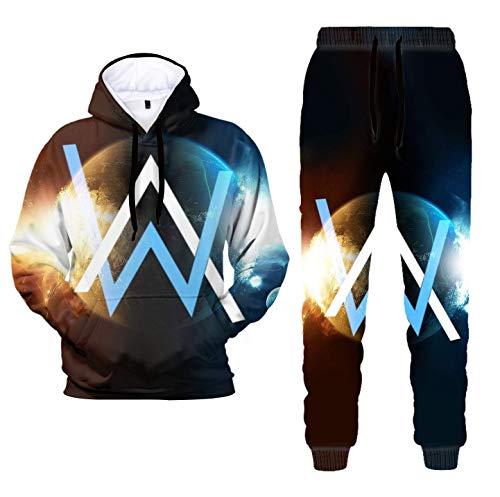 Stampa 3D Alan Walker Pullover con cappuccio e pantaloni della tuta Abiti Moda Casual Due Pezzi Felpa Abiti per gli Uomini Donne 2.alan Walker XL