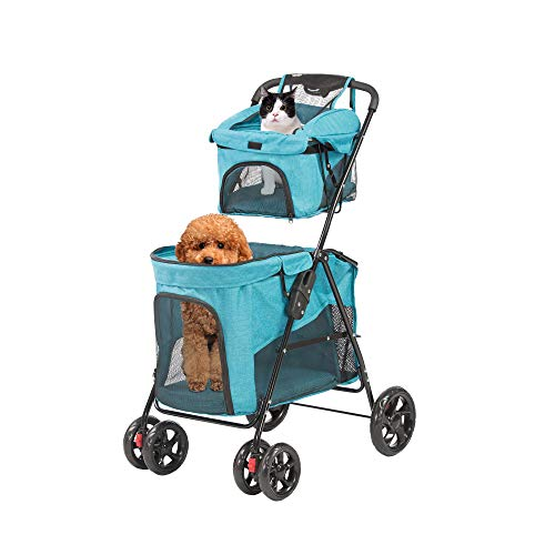 LUCKYERMORE Dog Cat Stroller Double Pet Jogger Stroller Folding Travel Carrier Cart for 2 Kitten Puppy, Easy to Fold