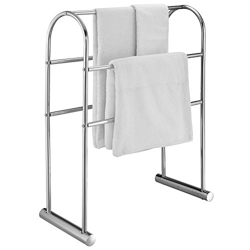 MyGift Chrome-Plated 5 Bar Towel Stand Organizer, 32-Inch Freestanding Bath Drying Rack