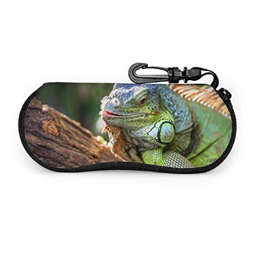 AOOEDM Iguana verde sonriente grande acostada en la rama Estuche portátil para anteojos Estuche protector para anteojos resistentes a la abrasión Estuche protector para lentes de sol suave con mosque