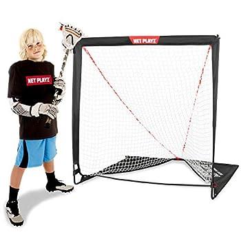NET PLAYZ Kids Lacrosse Goal - Backyard Training Practice & Exercise   Portable Lacrosse Net Equipment & Gear NOH445402020 Black