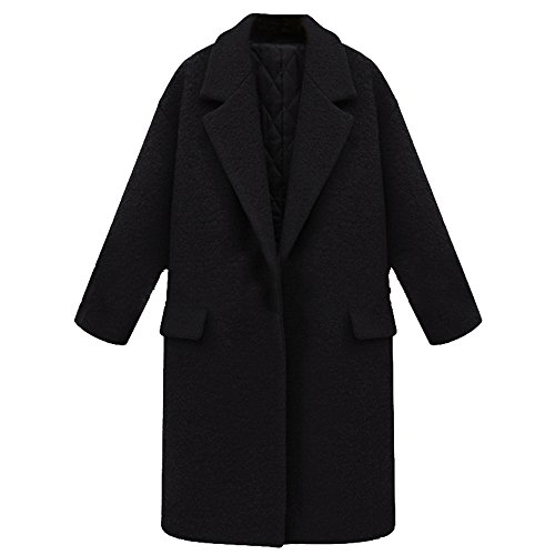 5 ALL Damen Frauen Wollmantel Winter Klassische Eleganter Revers Lose Verdicke Dicken Oversized Lang Trenchcoat Mantel Wintermantel Outwear Schwarz XL