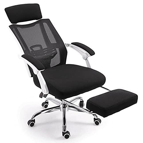 JNOIHF Silla de escritorio de oficina, sillas ergonómicas de juego giratorio de alta espalda con reposabrazos y reposapiés retráctil para la silla de computadora de la computadora, para la sala de con
