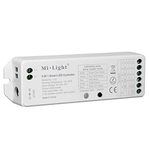 LIGHTEU®, Milight 5 in 1 intelligenter LED-Streifenregler, 2,4 GHz Fernbedienung und Smartphone-Steuerung. Kompatibel mit einzelnen Farben, CCT, RGB, RGBW und RGB + CCT Ausgabemodus, DC12V / 24V, LS2