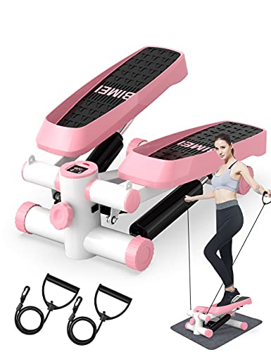 DACHUANG Mini Exercise Stepper, Stair Stepper with Resistance Bands, Stepper Exercise Machine with LCD Display for Home Workout (Pink)